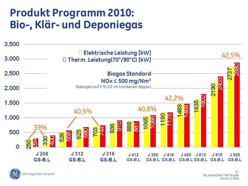 24 / GE Jenbacher /Teki Suajibi March 2, 2014 Biogasanlage DeQingYuan, China Anzahl und Motortyp:2 x JMS 320 GS-B.L Treibstoff:Biogas aus Hühnerkot (3 Mio.