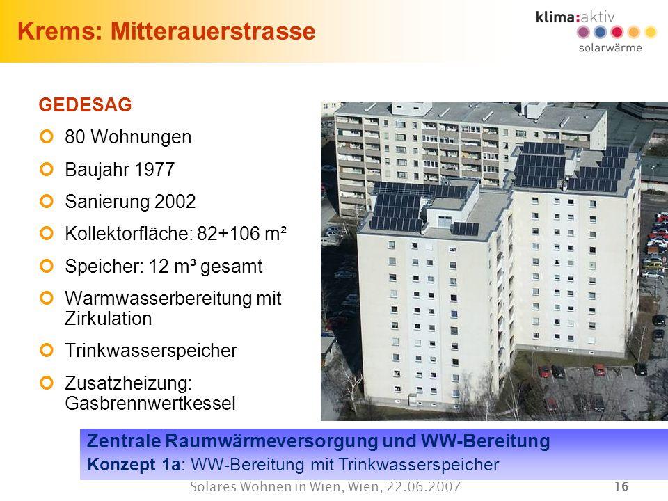 16 Solares Wohnen in Wien, Wien, 22.06.2007 Krems: Mitterauerstrasse GEDESAG 80 Wohnungen Baujahr 1977 Sanierung 2002 Kollektorfläche: 82+106 m² Speic
