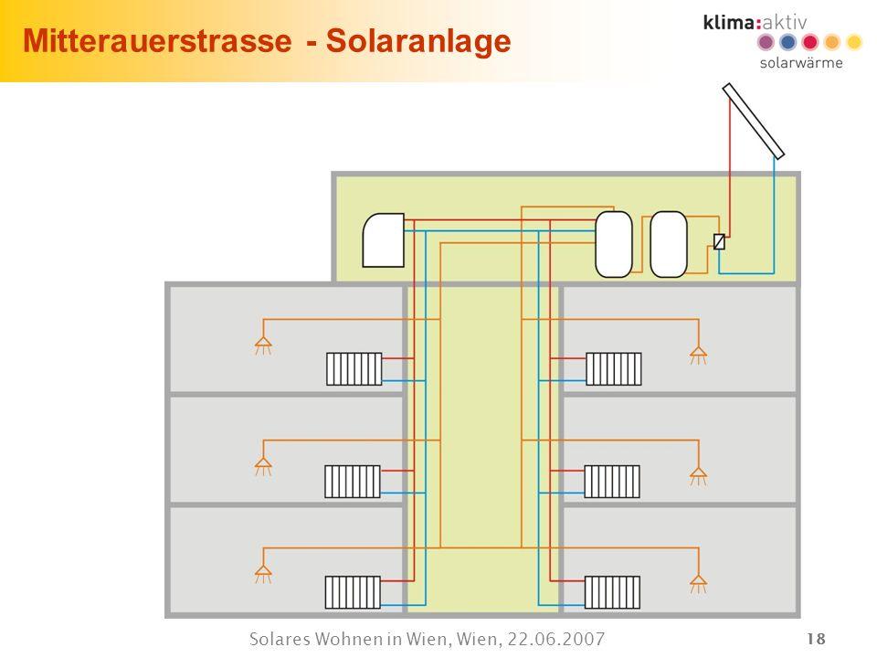 18 Solares Wohnen in Wien, Wien, 22.06.2007 Mitterauerstrasse - Solaranlage