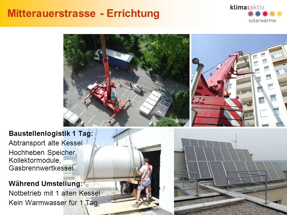 19 Solares Wohnen in Wien, Wien, 22.06.2007 Mitterauerstrasse - Errichtung Baustellenlogistik 1 Tag: Abtransport alte Kessel Hochheben Speicher, Kolle