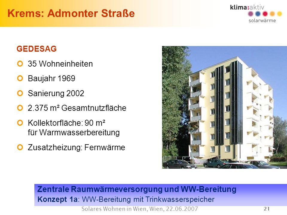 21 Solares Wohnen in Wien, Wien, 22.06.2007 Krems: Admonter Straße GEDESAG 35 Wohneinheiten Baujahr 1969 Sanierung 2002 2.375 m² Gesamtnutzfläche Koll