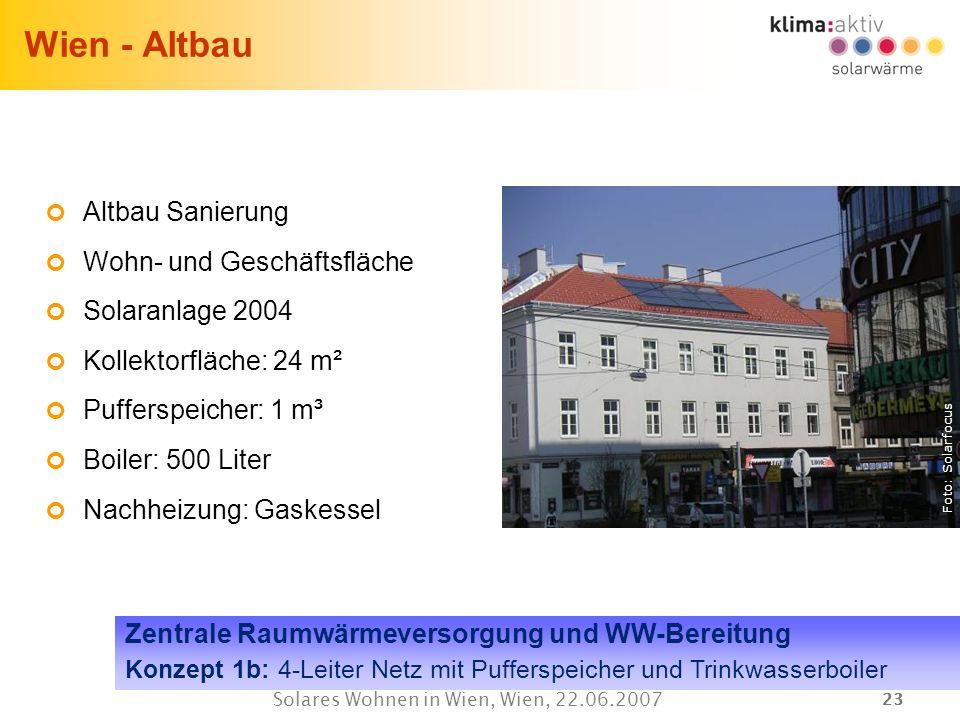23 Solares Wohnen in Wien, Wien, 22.06.2007 Wien - Altbau Altbau Sanierung Wohn- und Geschäftsfläche Solaranlage 2004 Kollektorfläche: 24 m² Pufferspe
