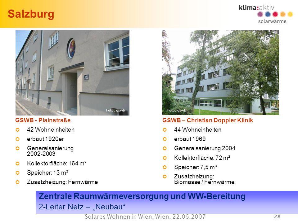 28 Solares Wohnen in Wien, Wien, 22.06.2007 Salzburg GSWB - Plainstraße 42 Wohneinheiten erbaut 1920er Generalsanierung 2002-2003 Kollektorfläche: 164