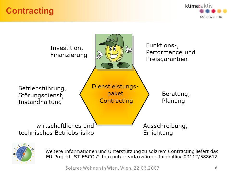 66 Solares Wohnen in Wien, Wien, 22.06.2007 Contracting Investition, Finanzierung Betriebsführung, Störungsdienst, Instandhaltung wirtschaftliches und