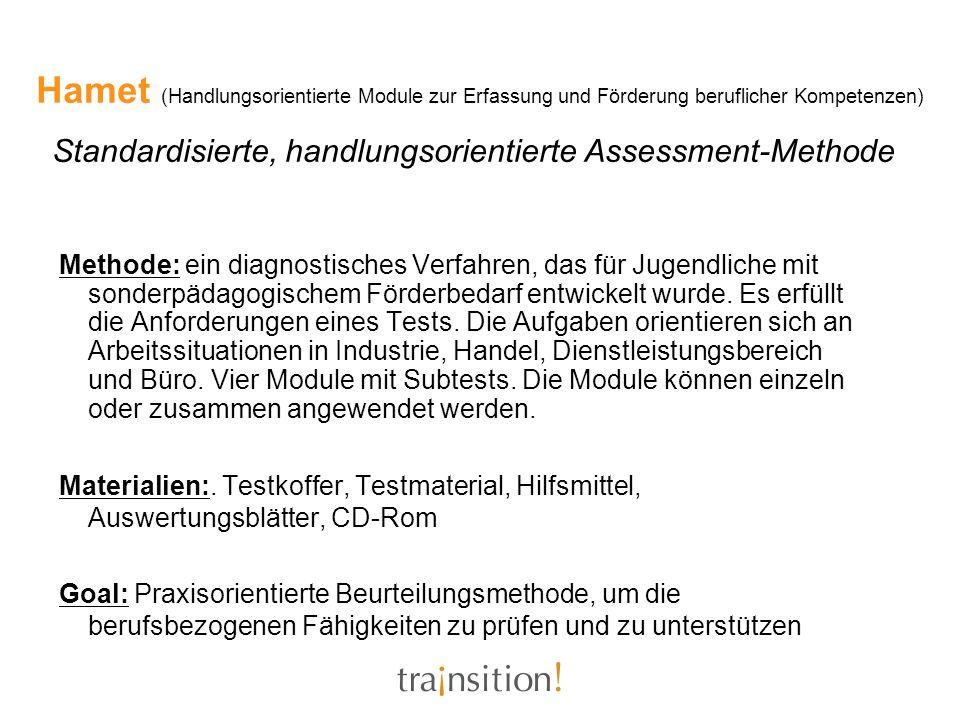 Hamet (Handlungsorientierte Module zur Erfassung und Förderung beruflicher Kompetenzen) Standardisierte, handlungsorientierte Assessment-Methode Metho
