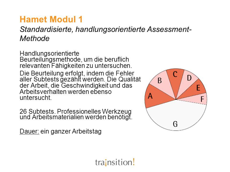 Hamet Modul 1 Standardisierte, handlungsorientierte Assessment- Methode Handlungsorientierte Beurteilungsmethode, um die beruflich relevanten Fähigkei
