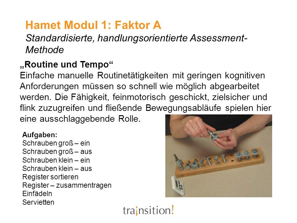 Hamet Modul 1: Faktor A Standardisierte, handlungsorientierte Assessment- Methode Routine und Tempo Einfache manuelle Routinetätigkeiten mit geringen