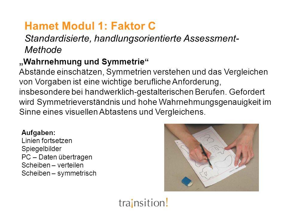 Hamet Modul 1: Faktor C Standardisierte, handlungsorientierte Assessment- Methode Wahrnehmung und Symmetrie Abstände einschätzen, Symmetrien verstehen