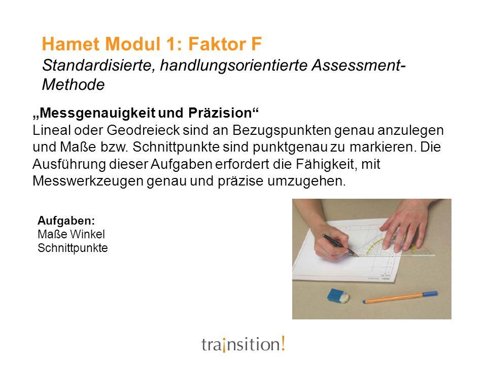 Hamet Modul 1: Faktor F Standardisierte, handlungsorientierte Assessment- Methode Messgenauigkeit und Präzision Lineal oder Geodreieck sind an Bezugsp
