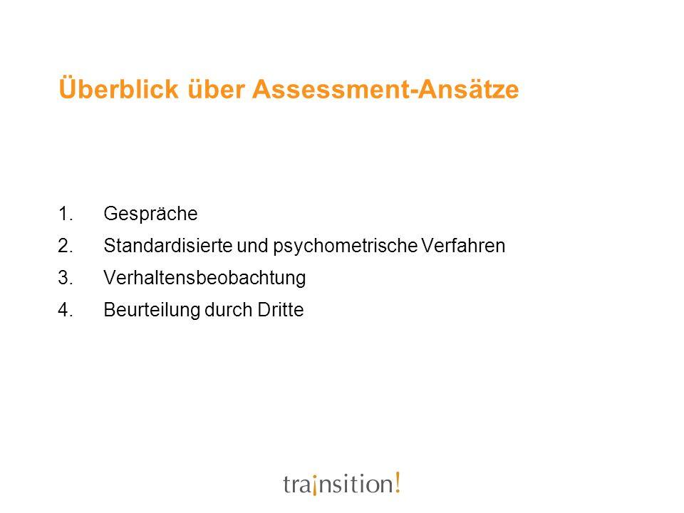 Überblick über Assessment-Ansätze 1.Gespräche 2.Standardisierte und psychometrische Verfahren 3.Verhaltensbeobachtung 4.Beurteilung durch Dritte