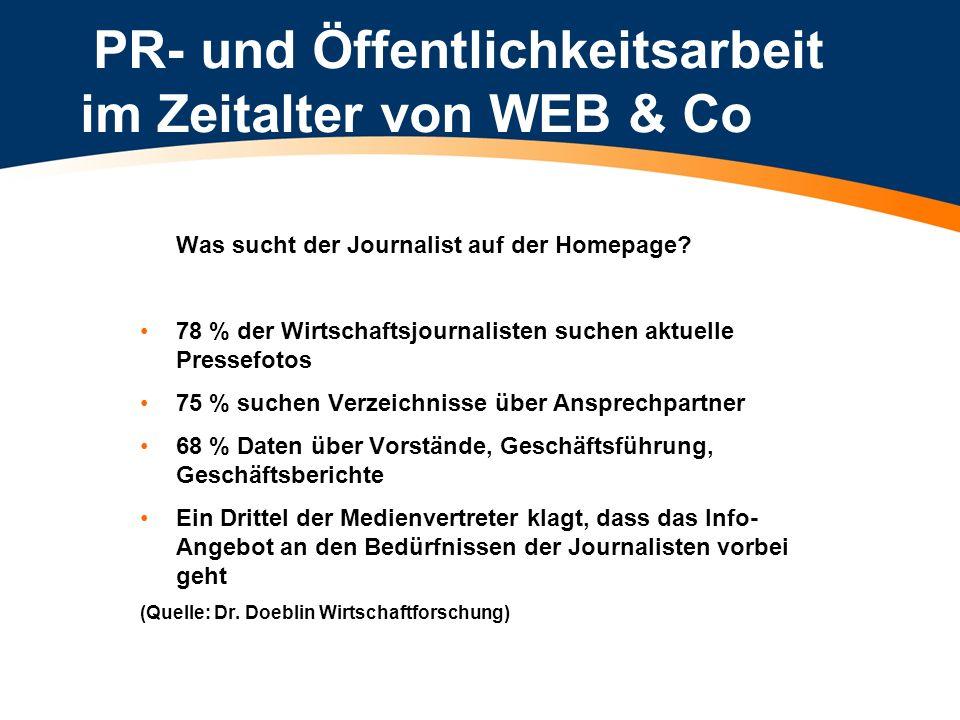 PR- und Öffentlichkeitsarbeit im Zeitalter von WEB & Co Was sucht der Journalist auf der Homepage? 78 % der Wirtschaftsjournalisten suchen aktuelle Pr