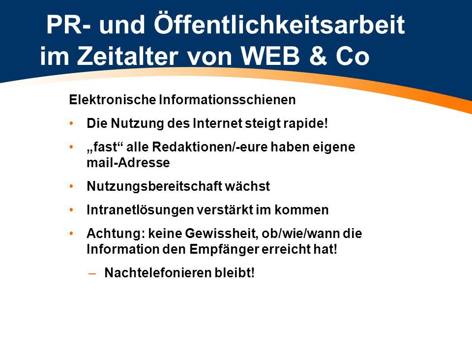 PR- und Öffentlichkeitsarbeit im Zeitalter von WEB & Co Elektronische Informationsschienen Die Nutzung des Internet steigt rapide! fast alle Redaktion