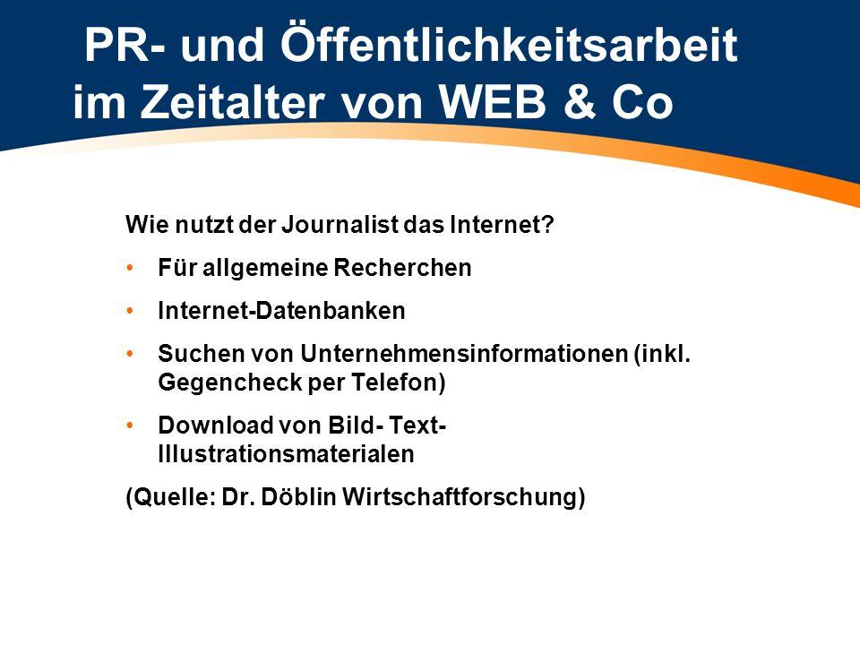 PR- und Öffentlichkeitsarbeit im Zeitalter von WEB & Co Wie nutzt der Journalist das Internet? Für allgemeine Recherchen Internet-Datenbanken Suchen v