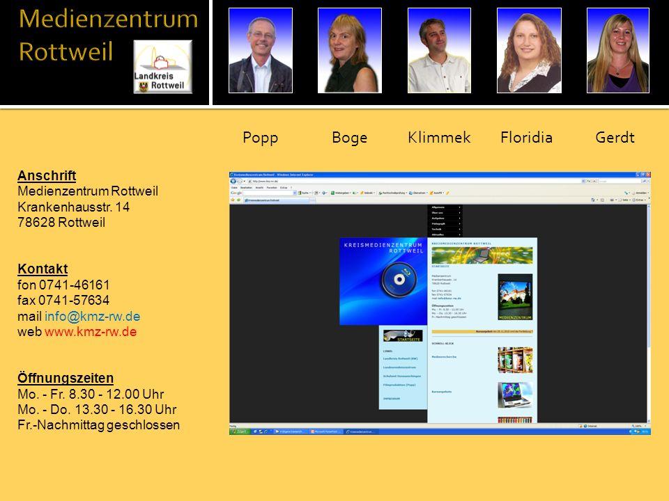 Anschrift Medienzentrum Rottweil Krankenhausstr. 14 78628 Rottweil Kontakt fon 0741-46161 fax 0741-57634 mail info@kmz-rw.de web www.kmz-rw.de Öffnung