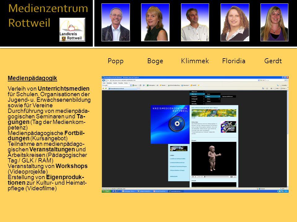 Medienpädagogik Verleih von Unterrichtsmedien für Schulen, Organisationen der Jugend- u. Erwachsenenbildung sowie für Vereine Durchführung von medienp