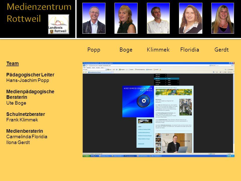 Leiter (Popp) Auswahl und Beschaffung der Medien und Geräte Beratung der Bildungsein- einrichtungen beim Einsatz von Medien Koordinierung der Aufga- ben im Team (z.