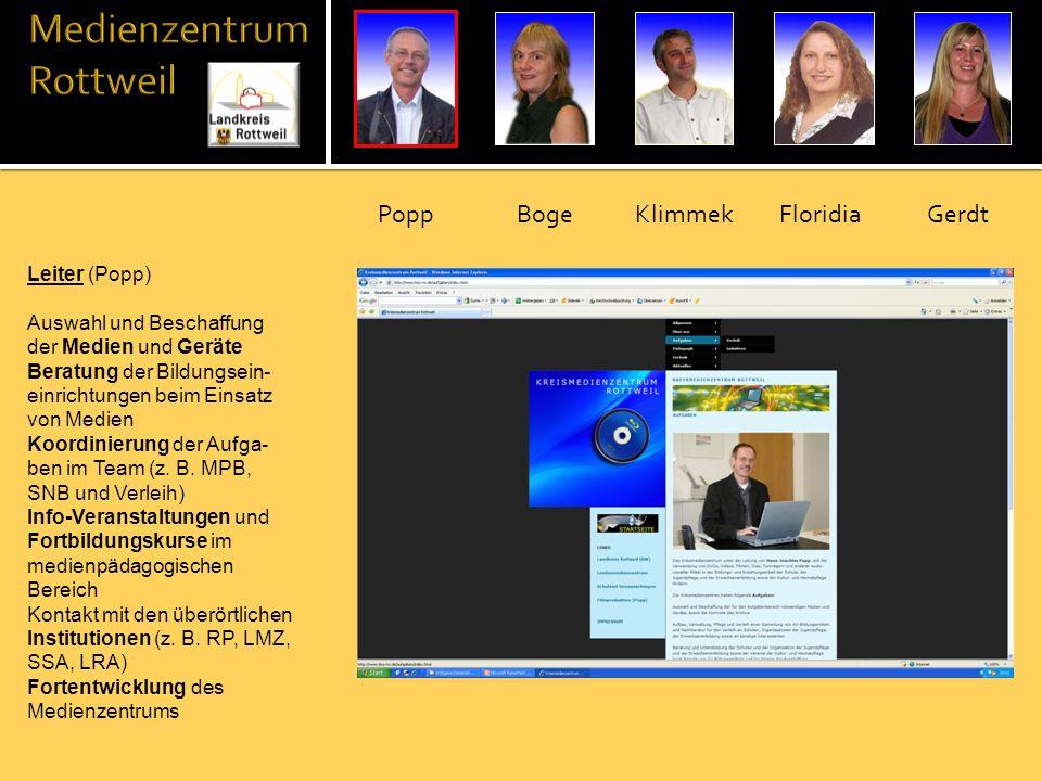 Leiter (Popp) Auswahl und Beschaffung der Medien und Geräte Beratung der Bildungsein- einrichtungen beim Einsatz von Medien Koordinierung der Aufga- b