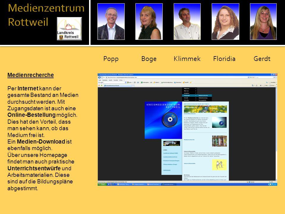 Medienrecherche Per Internet kann der gesamte Bestand an Medien durchsucht werden. Mit Zugangsdaten ist auch eine Online-Bestellung möglich. Dies hat