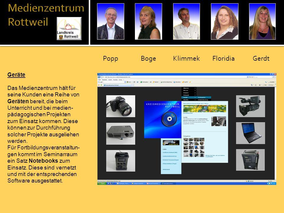 Geräte Das Medienzentrum hält für seine Kunden eine Reihe von Geräten bereit, die beim Unterricht und bei medien- pädagogischen Projekten zum Einsatz