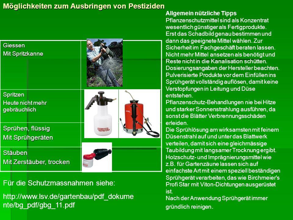 Möglichkeiten zum Ausbringen von Pestiziden Giessen Mit Spritzkanne Spritzen Heute nicht mehr gebräuchlich Sprühen, flüssig Mit Sprühgeräten Stäuben M