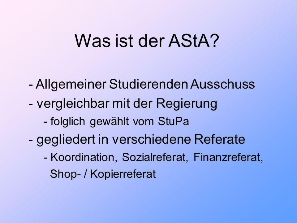 Alle Studierenden der Universität Siegen unterteilt in 12 Fachbereiche StuPa AStA GesamtVollVersammlung Fachschaftsräte Autonome Referate Studentische Initiativen FVV FachschaftsVoll- Versammlungen bildet kontrolliert wählt ´