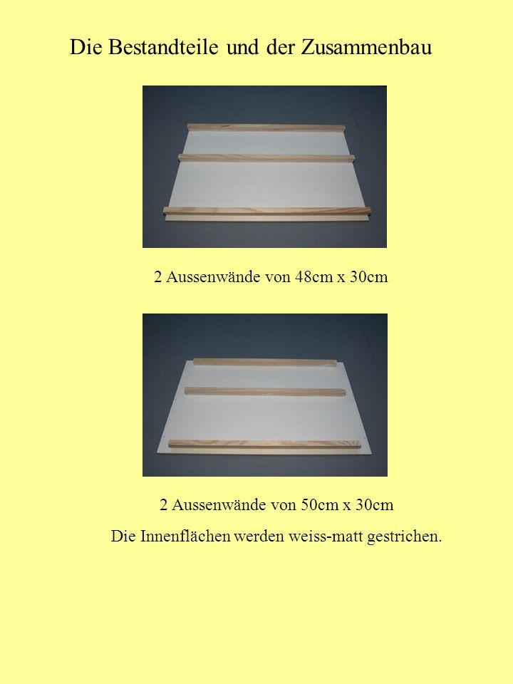 Die Bestandteile und der Zusammenbau 2 Aussenwände von 48cm x 30cm 2 Aussenwände von 50cm x 30cm Die Innenflächen werden weiss-matt gestrichen.
