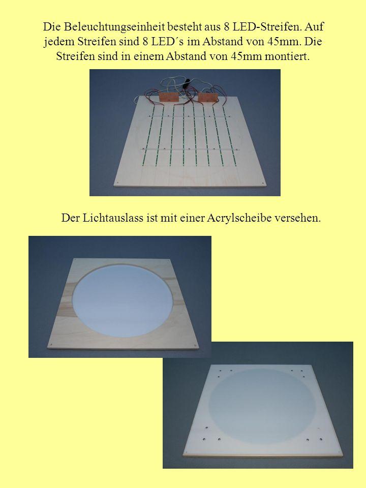 Die Beleuchtungseinheit besteht aus 8 LED-Streifen. Auf jedem Streifen sind 8 LED´s im Abstand von 45mm. Die Streifen sind in einem Abstand von 45mm m