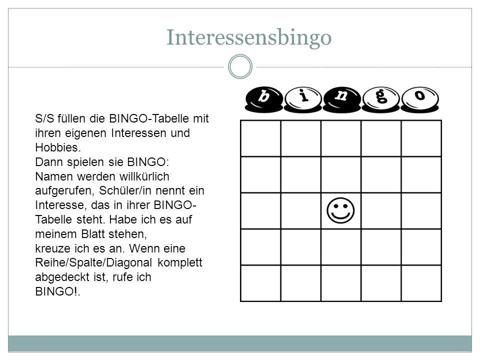 Interessensbingo S/S füllen die BINGO-Tabelle mit ihren eigenen Interessen und Hobbies.