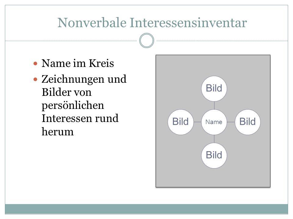 Nonverbale Interessensinventar Name im Kreis Zeichnungen und Bilder von persönlichen Interessen rund herum Name Bild