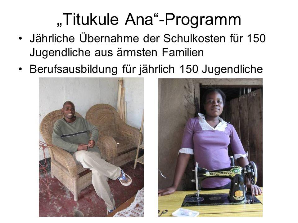 Titukule Ana-Programm Jährliche Übernahme der Schulkosten für 150 Jugendliche aus ärmsten Familien Berufsausbildung für jährlich 150 Jugendliche