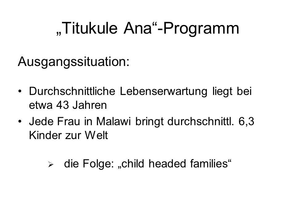 Titukule Ana-Programm Ausgangssituation: Durchschnittliche Lebenserwartung liegt bei etwa 43 Jahren Jede Frau in Malawi bringt durchschnittl.