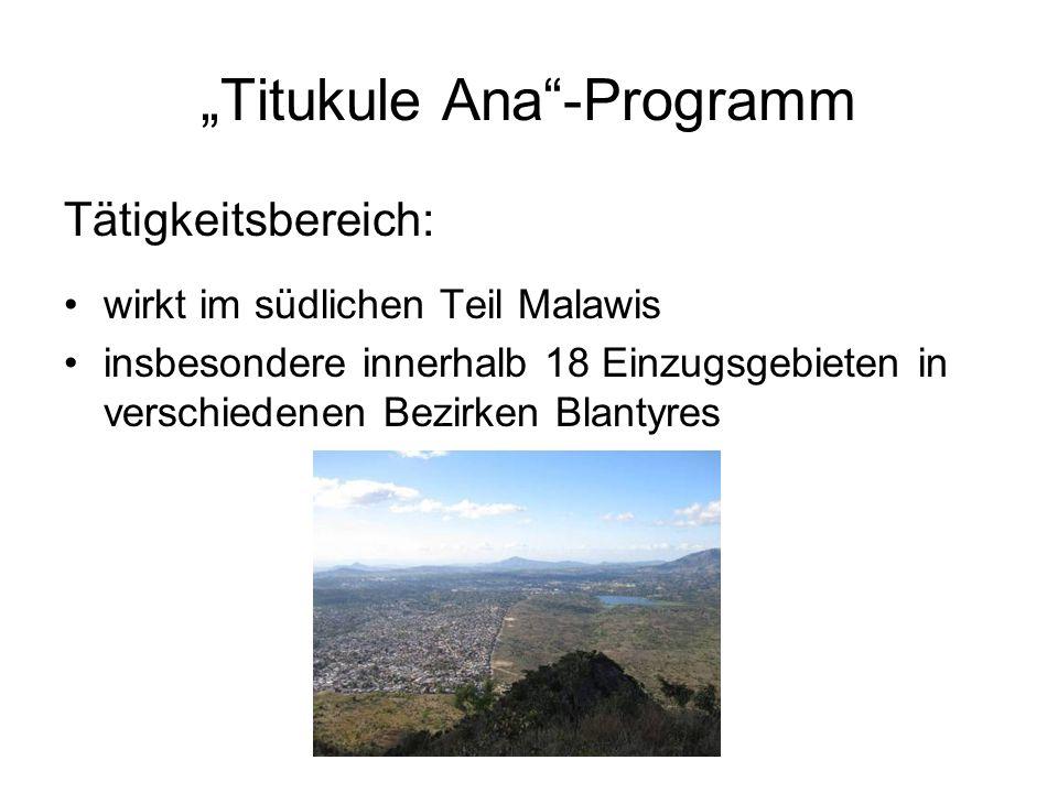 Titukule Ana-Programm Tätigkeitsbereich: wirkt im südlichen Teil Malawis insbesondere innerhalb 18 Einzugsgebieten in verschiedenen Bezirken Blantyres
