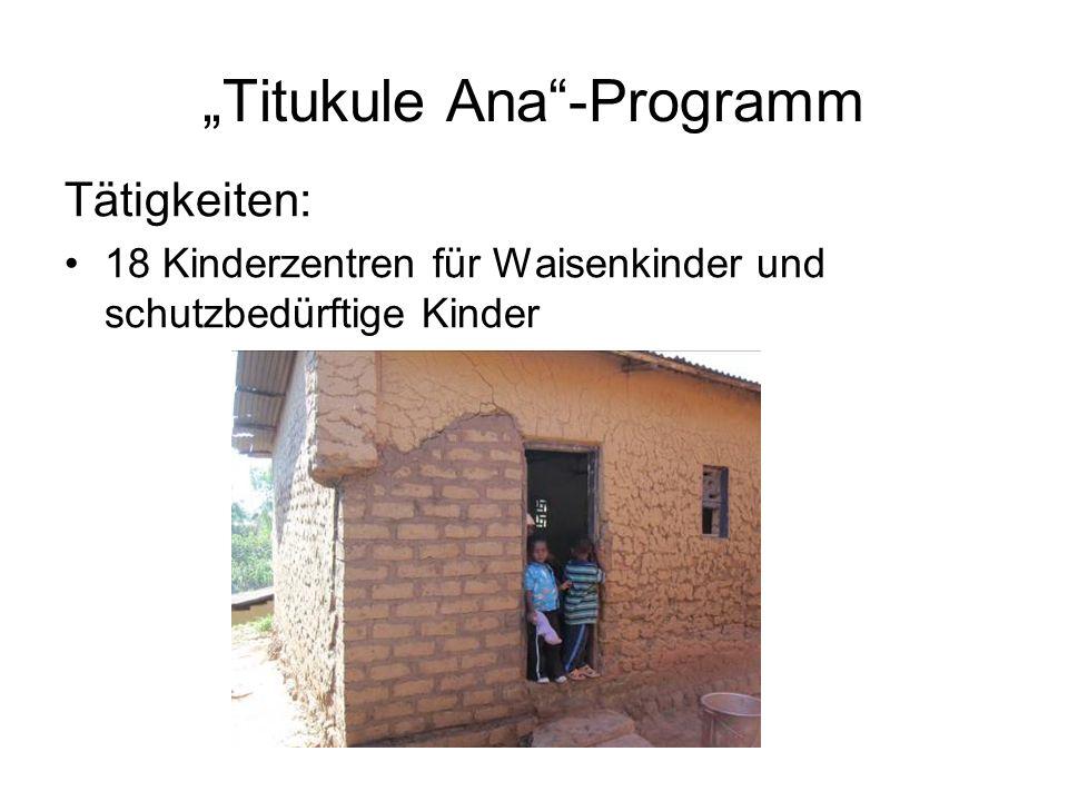 Titukule Ana-Programm Tätigkeiten: 18 Kinderzentren für Waisenkinder und schutzbedürftige Kinder