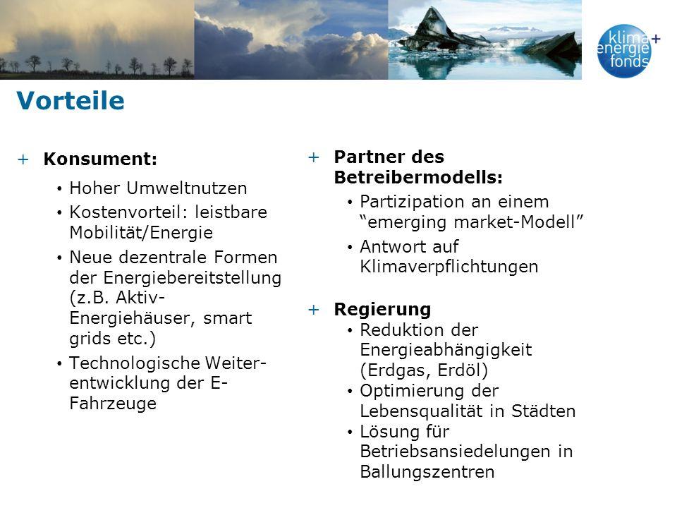 Vorteile +Konsument: Hoher Umweltnutzen Kostenvorteil: leistbare Mobilität/Energie Neue dezentrale Formen der Energiebereitstellung (z.B. Aktiv- Energ