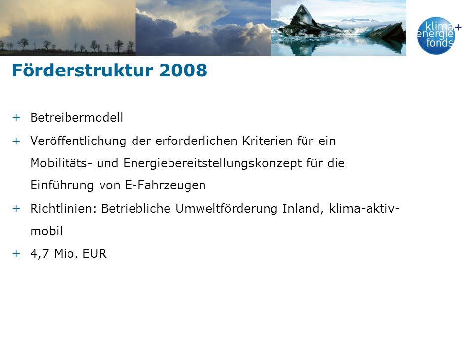 Förderstruktur 2008 +Betreibermodell +Veröffentlichung der erforderlichen Kriterien für ein Mobilitäts- und Energiebereitstellungskonzept für die Einf
