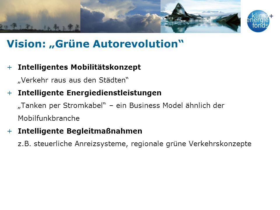 Vision: Grüne Autorevolution +Intelligentes Mobilitätskonzept Verkehr raus aus den Städten +Intelligente Energiedienstleistungen Tanken per Stromkabel