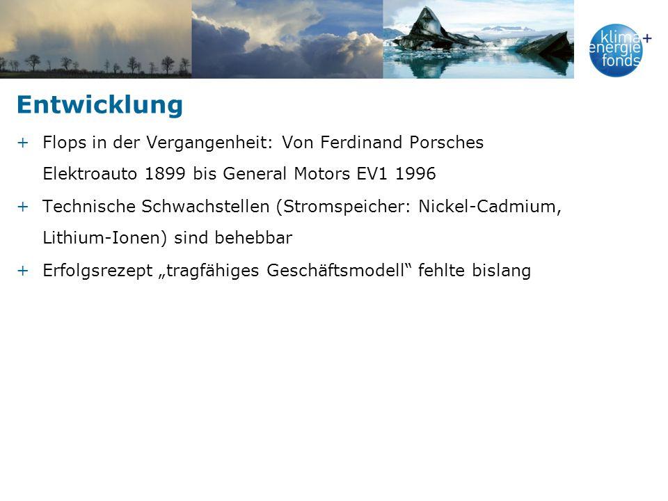 Entwicklung +Flops in der Vergangenheit: Von Ferdinand Porsches Elektroauto 1899 bis General Motors EV1 1996 +Technische Schwachstellen (Stromspeicher