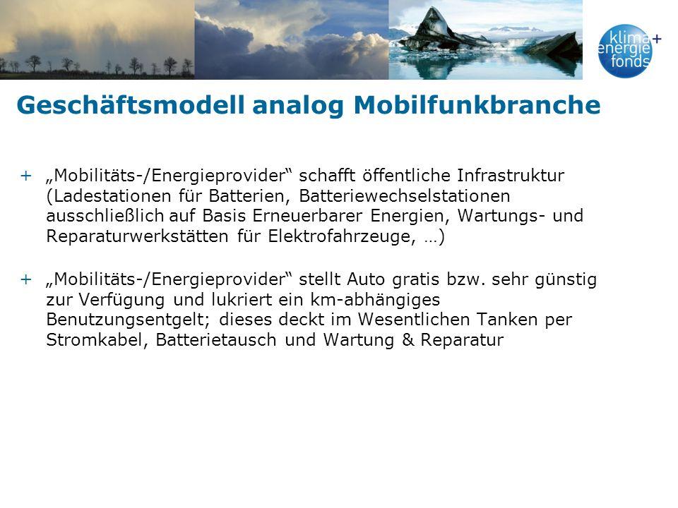 Geschäftsmodell analog Mobilfunkbranche +Mobilitäts-/Energieprovider schafft öffentliche Infrastruktur (Ladestationen für Batterien, Batteriewechselst