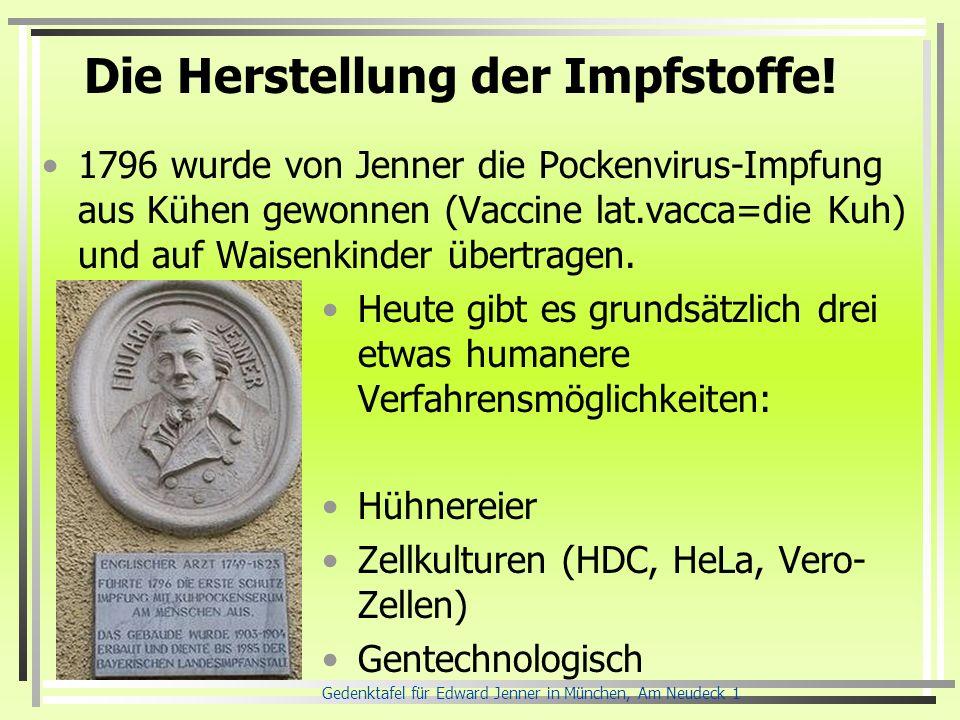 Die Herstellung der Impfstoffe! Heute gibt es grundsätzlich drei etwas humanere Verfahrensmöglichkeiten: Hühnereier Zellkulturen (HDC, HeLa, Vero- Zel
