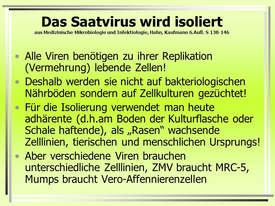 Das Saatvirus wird isoliert aus Medizinische Mikrobiologie und Infektiologie, Hahn, Kaufmann 6.Aufl. S 138-146 Alle Viren benötigen zu ihrer Replikati