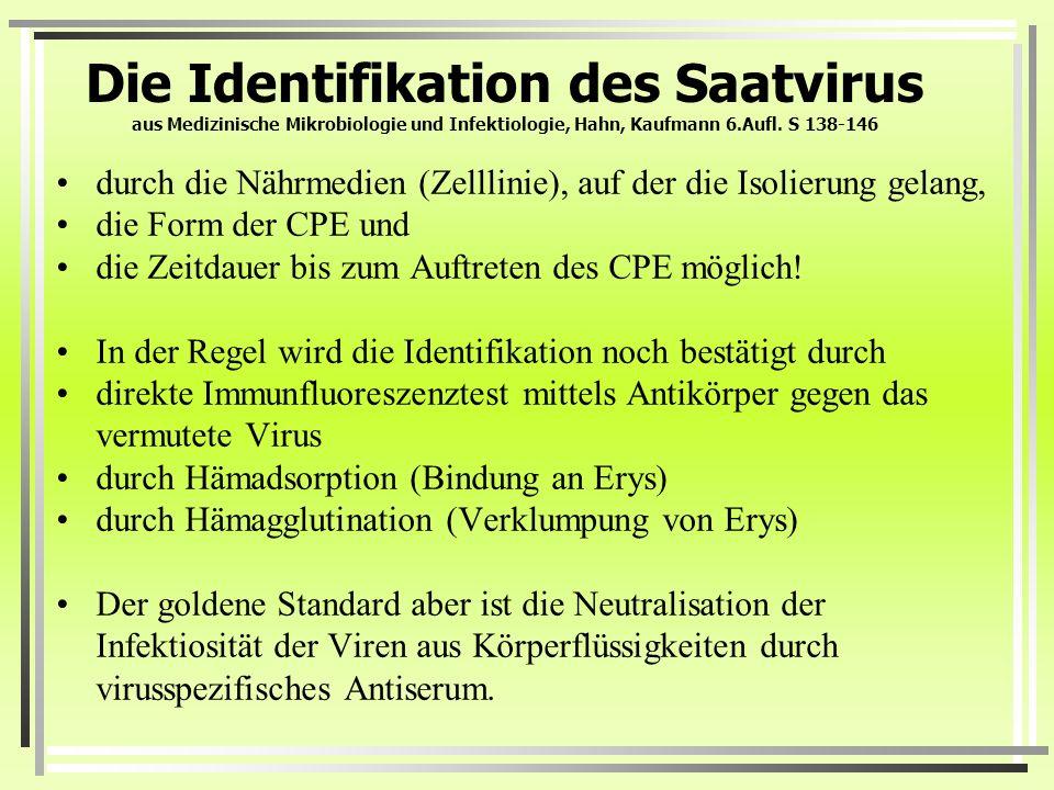 Die Identifikation des Saatvirus aus Medizinische Mikrobiologie und Infektiologie, Hahn, Kaufmann 6.Aufl. S 138-146 durch die Nährmedien (Zelllinie),