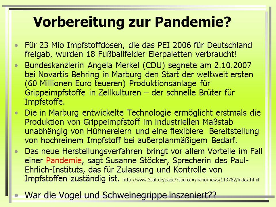 Vorbereitung zur Pandemie? Für 23 Mio Impfstoffdosen, die das PEI 2006 für Deutschland freigab, wurden 18 Fußballfelder Eierpaletten verbraucht! Bunde
