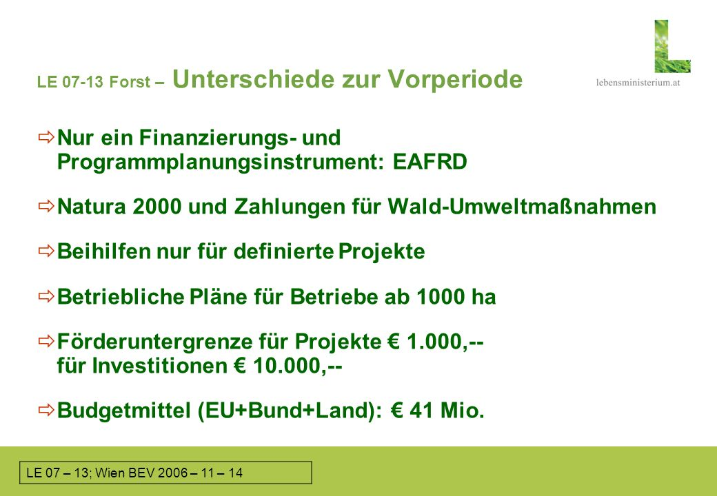LE 07-13, LEADER – L&FBÖ; Heiligenkreuz, 2006-06-12 LE 07-13 Forst – Unterschiede zur Vorperiode Nur ein Finanzierungs- und Programmplanungsinstrument: EAFRD Natura 2000 und Zahlungen für Wald-Umweltmaßnahmen Beihilfen nur für definierte Projekte Betriebliche Pläne für Betriebe ab 1000 ha Förderuntergrenze für Projekte 1.000,-- für Investitionen 10.000,-- Budgetmittel (EU+Bund+Land): 41 Mio.