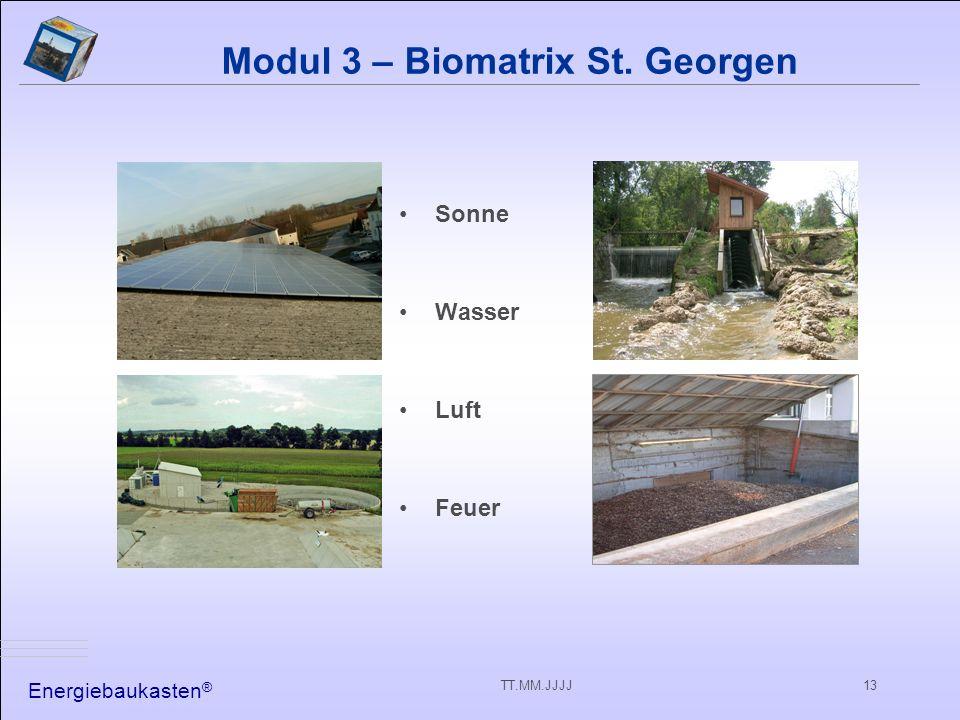 Energiebaukasten ® TT.MM.JJJJ13 Modul 3 – Biomatrix St. Georgen Sonne Wasser Luft Feuer