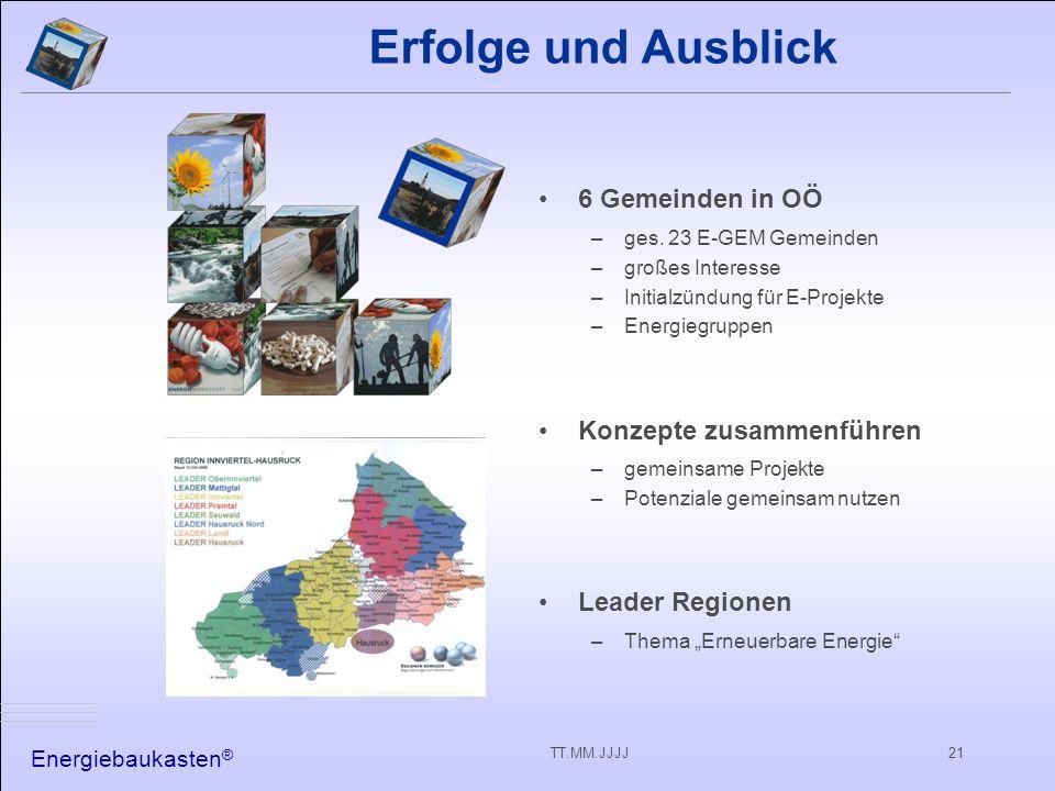 Energiebaukasten ® TT.MM.JJJJ21 6 Gemeinden in OÖ –ges.
