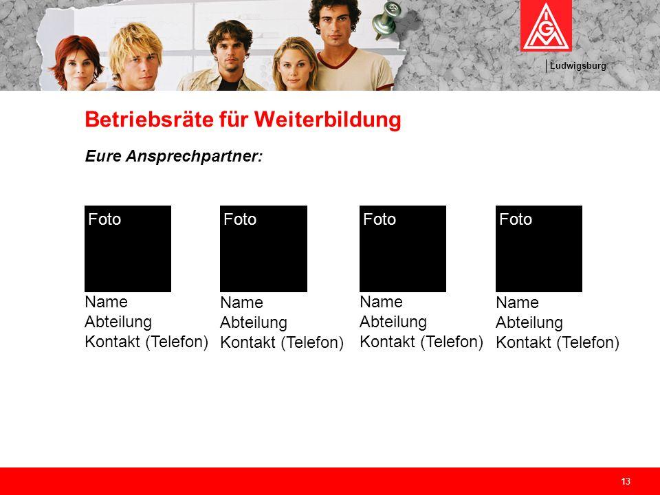 Ludwigsburg 13 Betriebsräte für Weiterbildung Eure Ansprechpartner: Name Abteilung Kontakt (Telefon) Foto Name Abteilung Kontakt (Telefon) Foto Name A