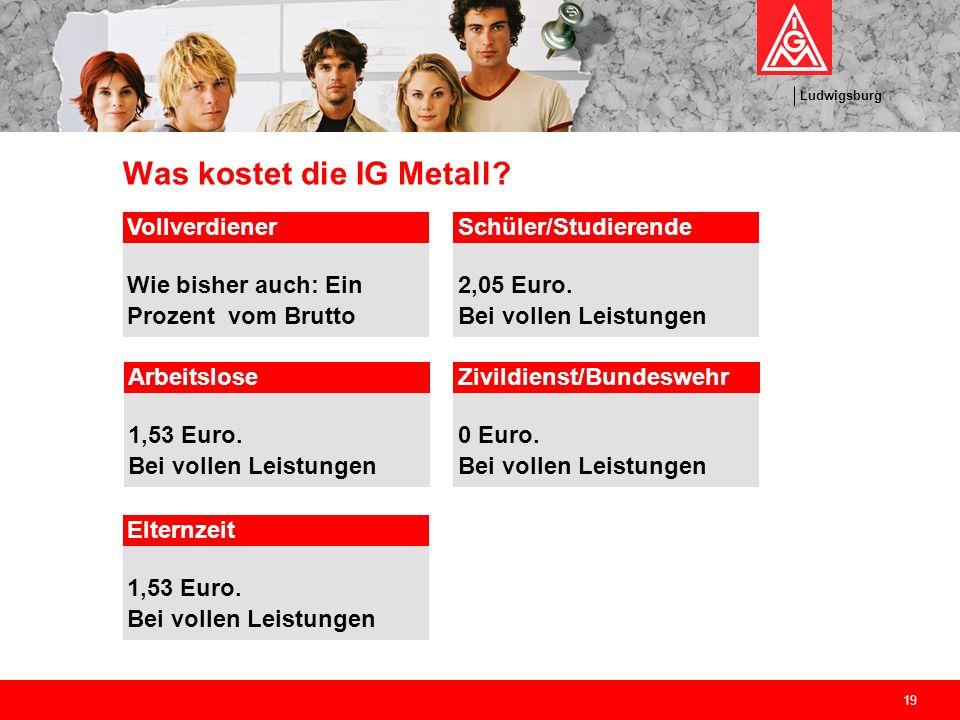 Ludwigsburg 19 Was kostet die IG Metall? Vollverdiener Wie bisher auch: Ein Prozent vom Brutto Schüler/Studierende 2,05 Euro. Bei vollen Leistungen Ar
