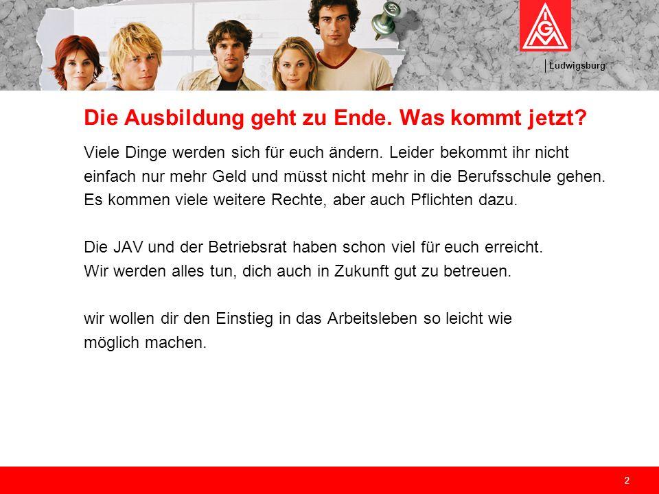 Ludwigsburg 2 Die Ausbildung geht zu Ende. Was kommt jetzt? Viele Dinge werden sich für euch ändern. Leider bekommt ihr nicht einfach nur mehr Geld un