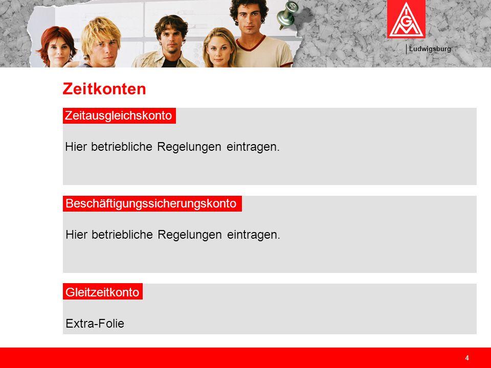 Ludwigsburg 4 Zeitkonten Zeitausgleichskonto Hier betriebliche Regelungen eintragen. Beschäftigungssicherungskonto Hier betriebliche Regelungen eintra
