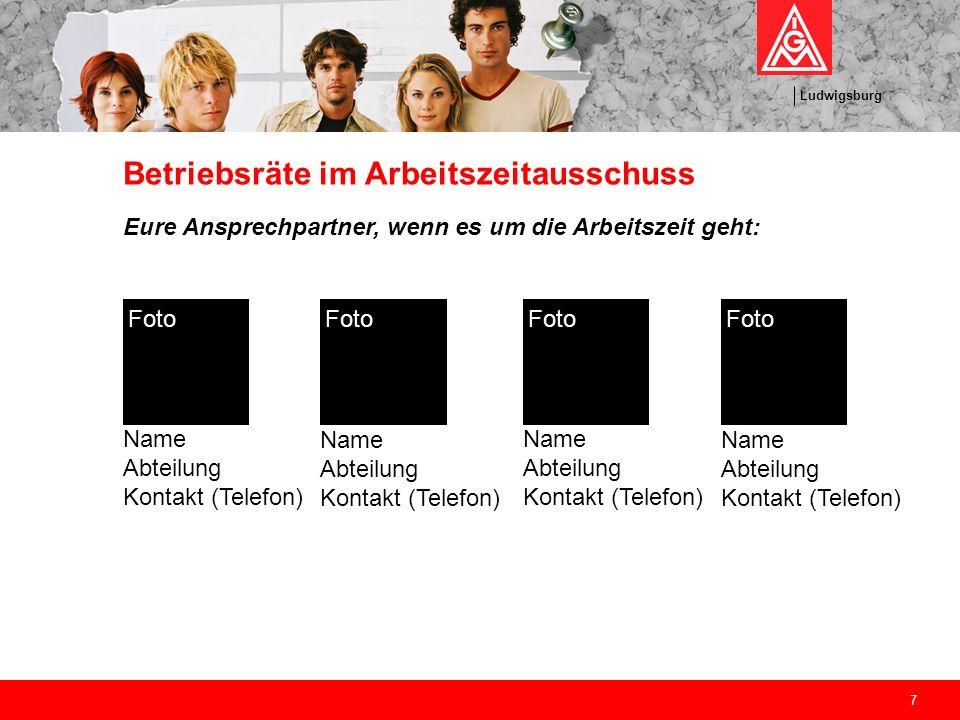 Ludwigsburg 7 Betriebsräte im Arbeitszeitausschuss Eure Ansprechpartner, wenn es um die Arbeitszeit geht: Name Abteilung Kontakt (Telefon) Foto Name A
